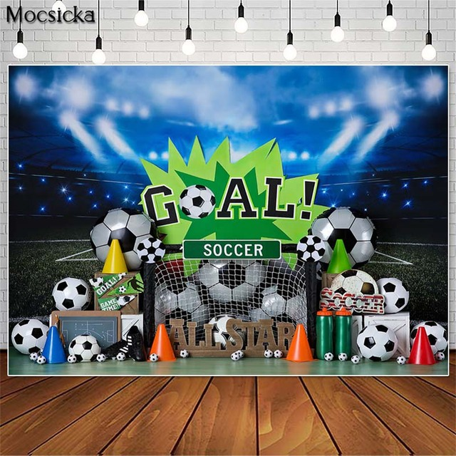 Mocsicka כדורגל כל כוכב ילד 1st יום הולדת צילום תפאורות עוגת לרסק תמונה אבזרי סטודיו תא רקע כדורגל דקור