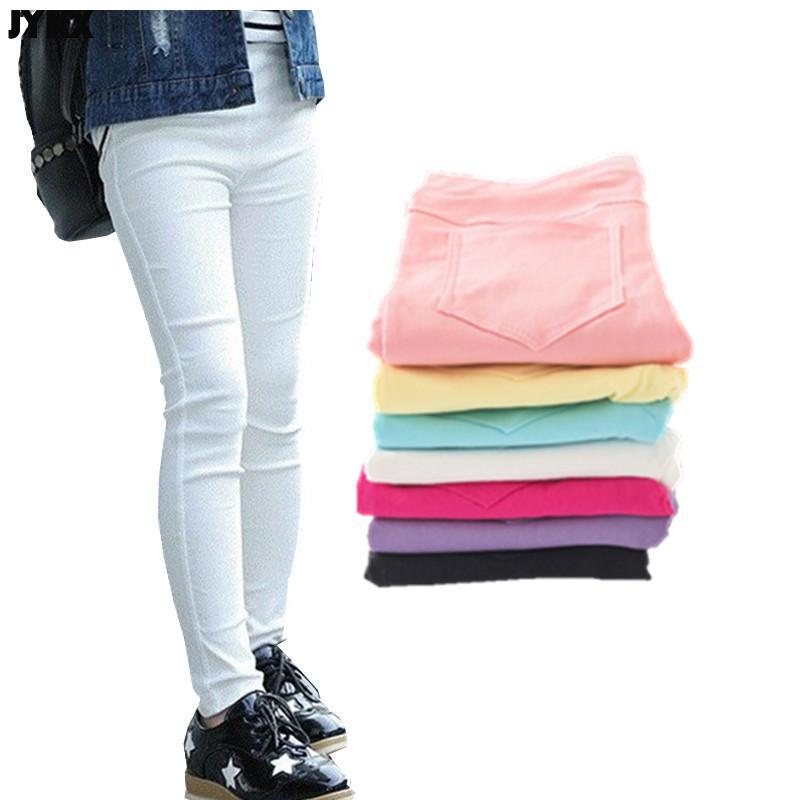 2021 Kids Girl Pants Spring Autumn Candy Color Elastic Pencil Trousers Child Solid Leggings For 2-11Y Children Clothing