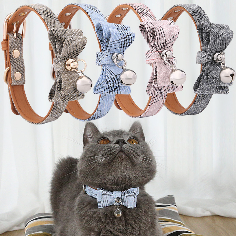 2020 Pet New Products Bowtie Diagonal Stripes Gentleman Wind Cat Bell Neck Ring Multi-color Adjustable Dog Neck Ring
