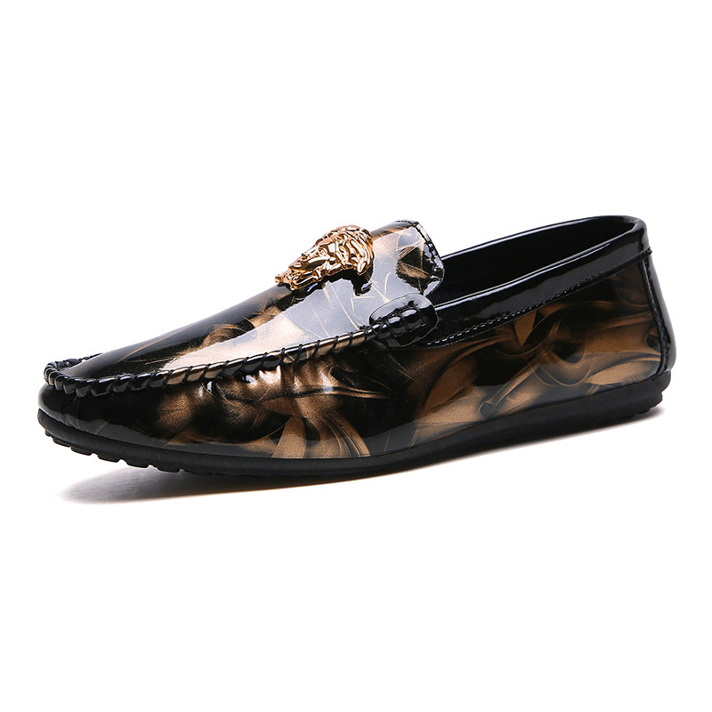 Luxury Leather Face Tiger Head Men Shoes High Quality Lightweight Slip-On Men Casual Shoes Comfortable No-slip Fashion Men Shoes