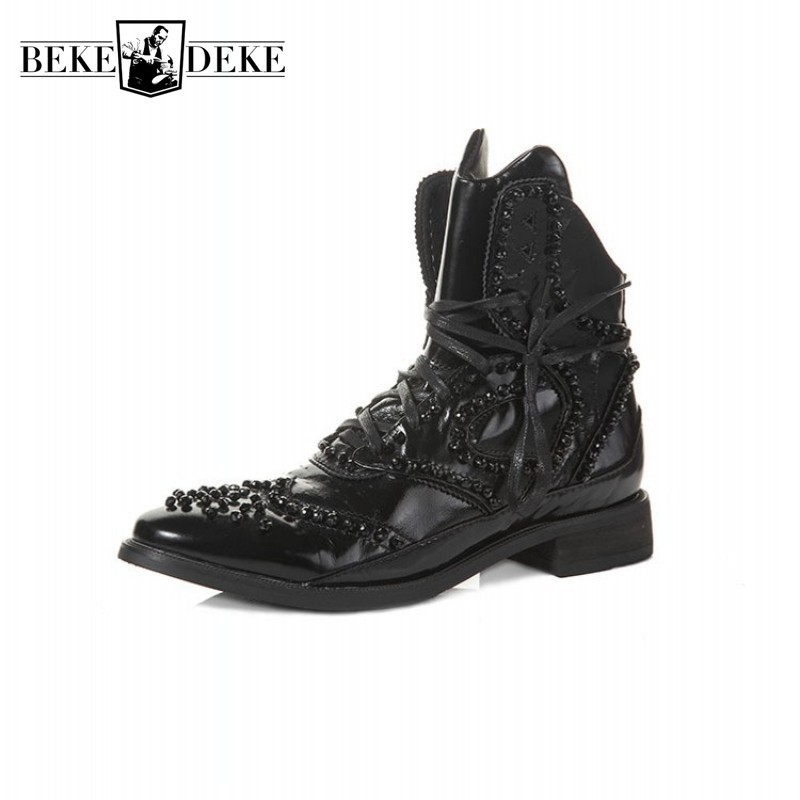 Winter British Boots Men Designer Crystal Beaded Vintage Ankle Boots Pointed Genuine Leather Punk Shoes Black High Top Sneakers