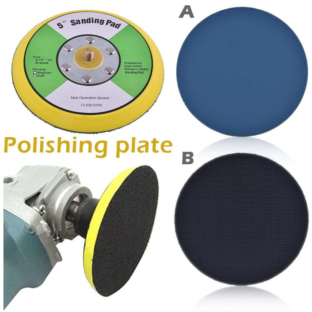 1pc 5 Inch Pneumatic Grinder Polishing Plate Disk Grinding Machine Chassis Polishing Sandpaper Adhesive Disc Polish Pad Plate