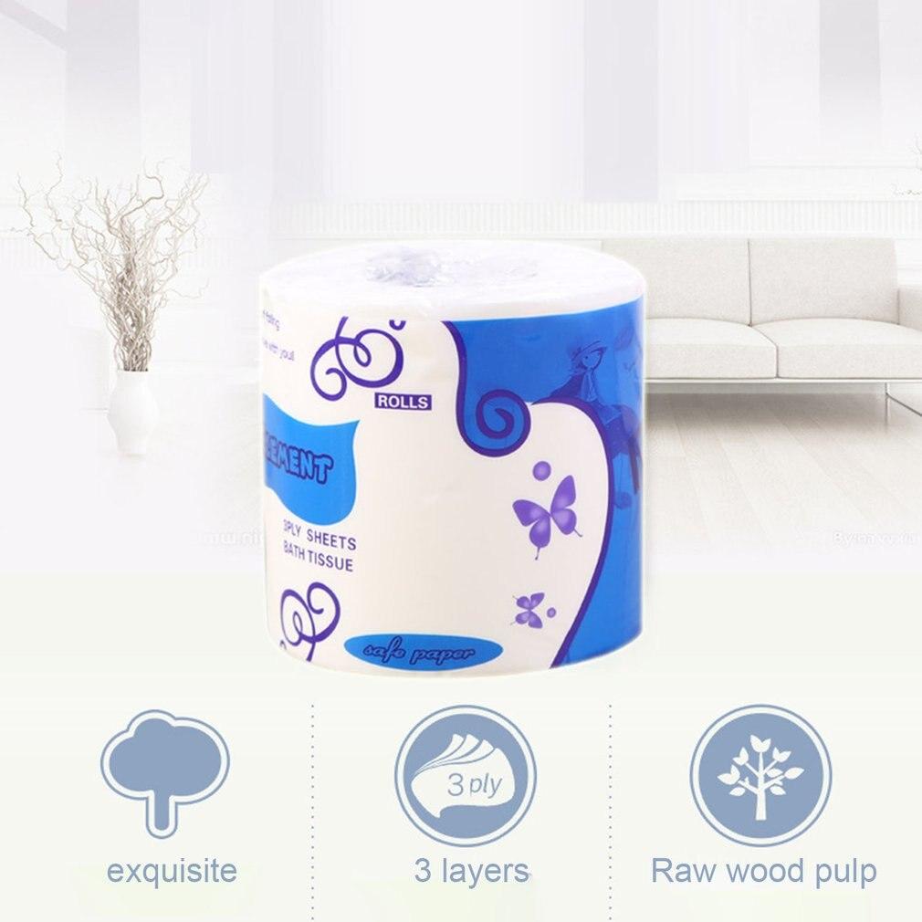 6 Rolls Standard 3-ply Toilet Paper Bulk Rolls Bath Tissue Household Bathroom Soft Paper Towel