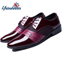 YEINSHAARS Men Formal Shoes Oxford Leather Dress Fashion Business Pointed Wedding Big Size 38-48