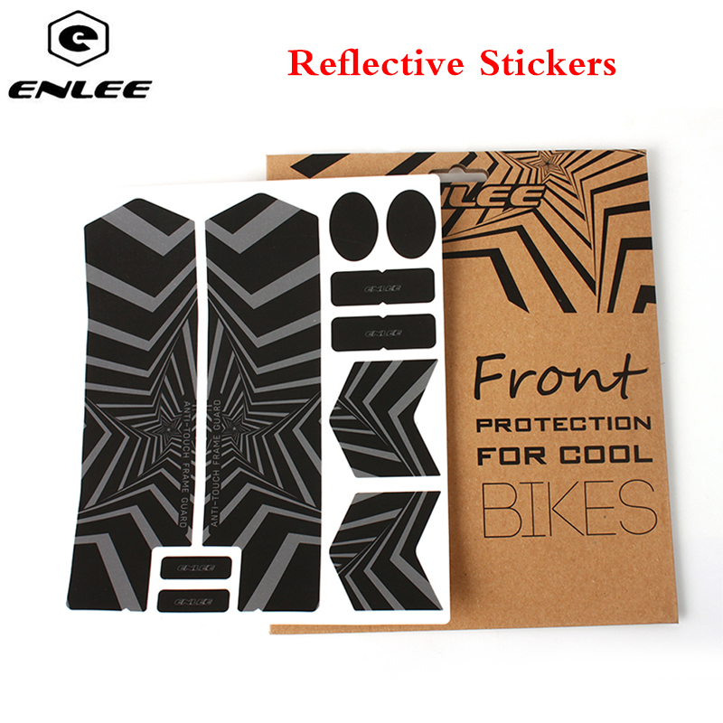 ENLEE 3D MTB Reflective Stickers Repeat Paste Protect Fork Stickers Anti-Skid Waterproof Mountian Bike Road Bicycle Accessories