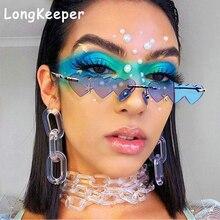 Fashion Small Rimless Sunglasses Women 2020 Vintage Heart Un