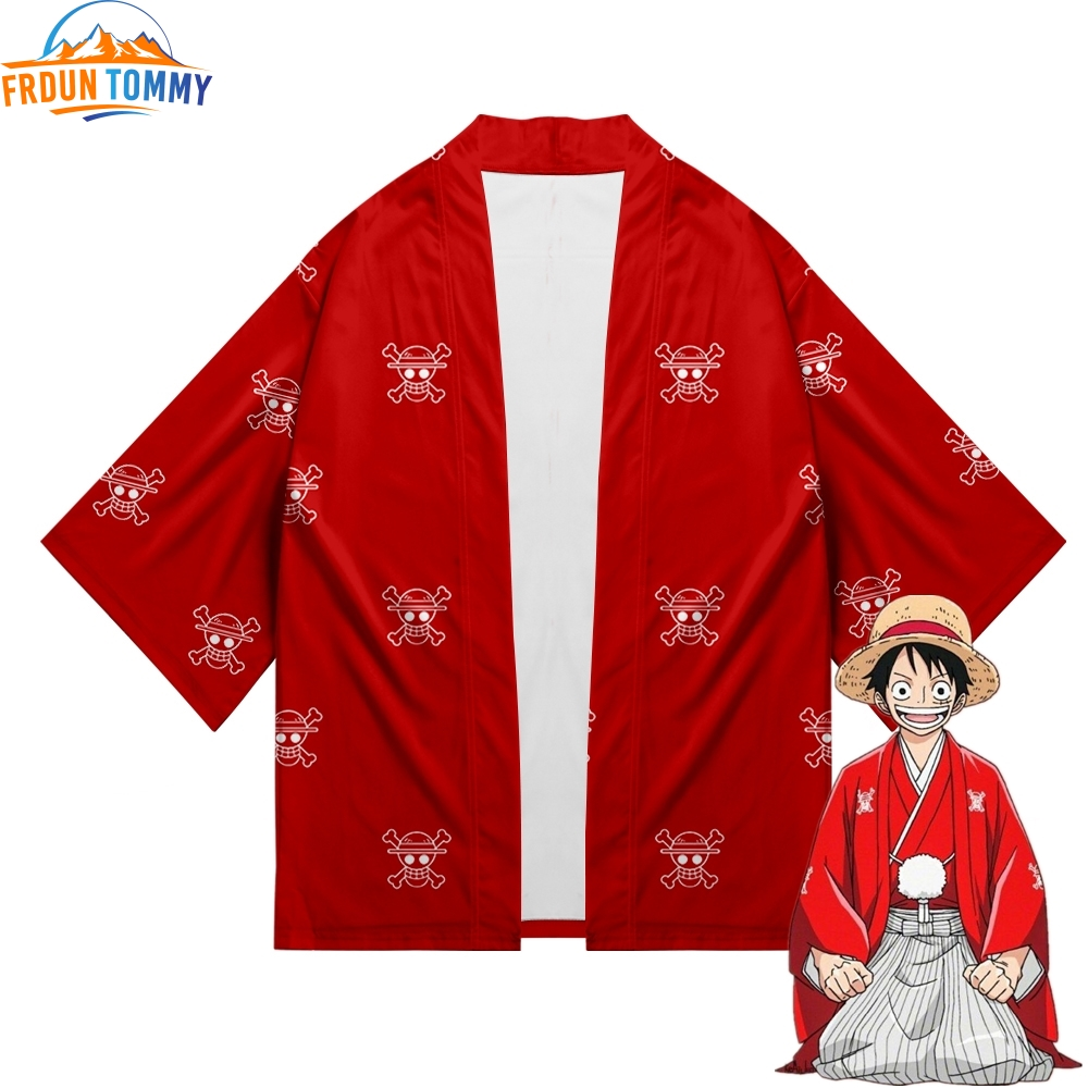 One Piece Japanese Kimono New Print Luffy Cardigan Cosplay Shirt Summer Kawai One Piece Kimono Cardigan Samurai Costume Clothing