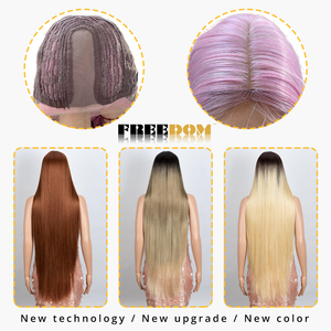 Image 4 - FREEDOM Synthetic Lace Front Wig For Black Women Supper Long 38Inch Ombre Blond 3 Color Natural Straight Hair Wigs Cosplay Wigs