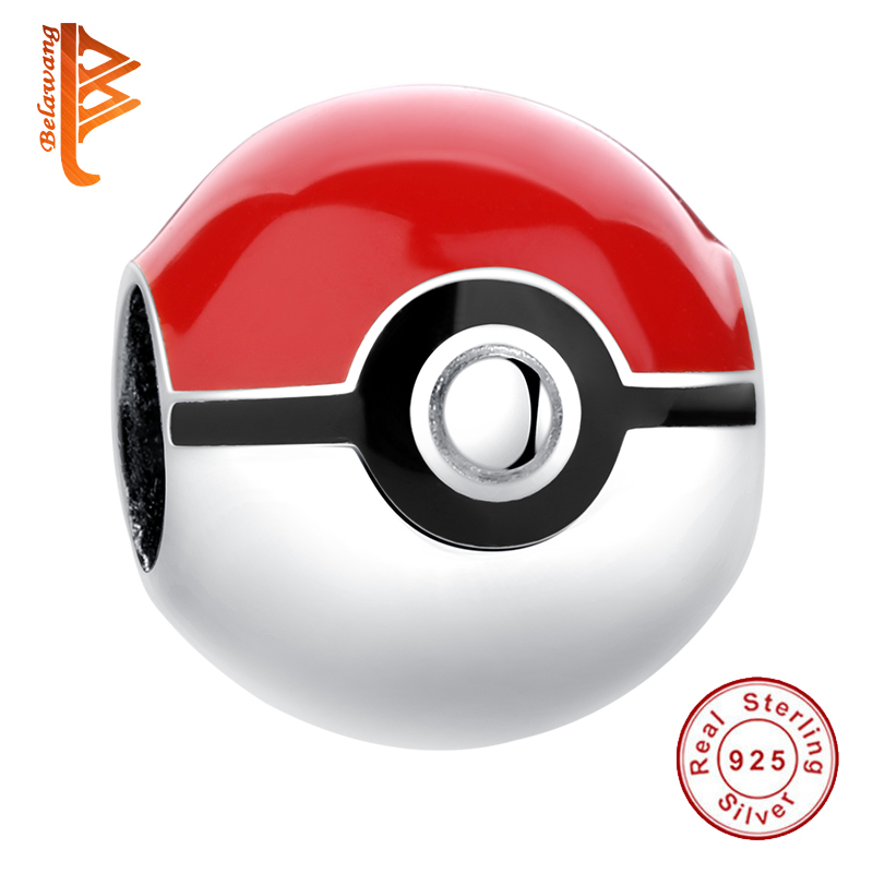BELAWANG 925 Sterling Silver Pokeball Pokemon Red Enamel Bead Charm Fit Original Pandora Charm Bracelet Authentic Jewelry Making(China)