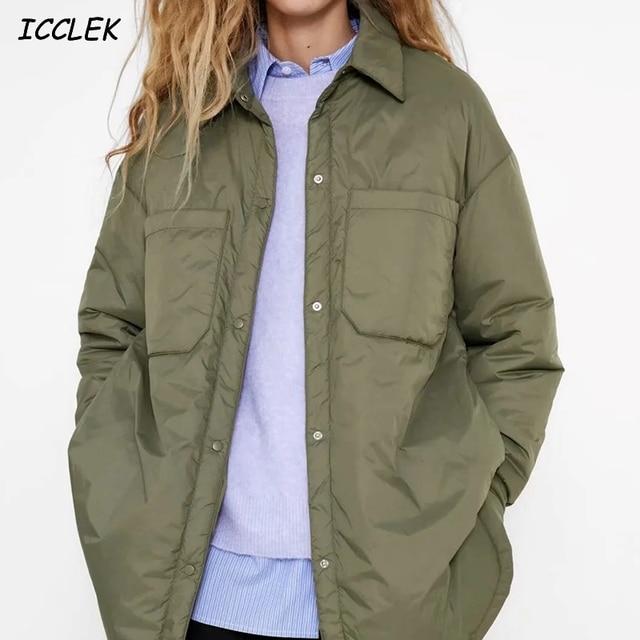 Za Women's Shirts Jackets Thin Parka Oversize Shirt Coats Femme Armygreen Outerwear Coats Bf Long Sleeve Khaki Coat trf 2021 1