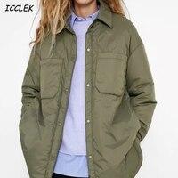 Za Women's Shirts Jackets Thin Parka Oversize Shirt Coats Femme Armygreen Outerwear Coats Bf Long Sleeve Khaki Coat trf 2021