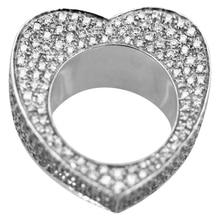 Fashion Hollow Circle Love Heart Rings Dazzling  Full Crystals Rhinestone Wedding Statement Jewelry Z5M484