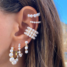 Boucles d'oreilles EN perles pour mariée, Bijoux de mariage EN métal doré, style bohémien, petite boucle ronde, sans perçage, tendance, pour femmes et filles