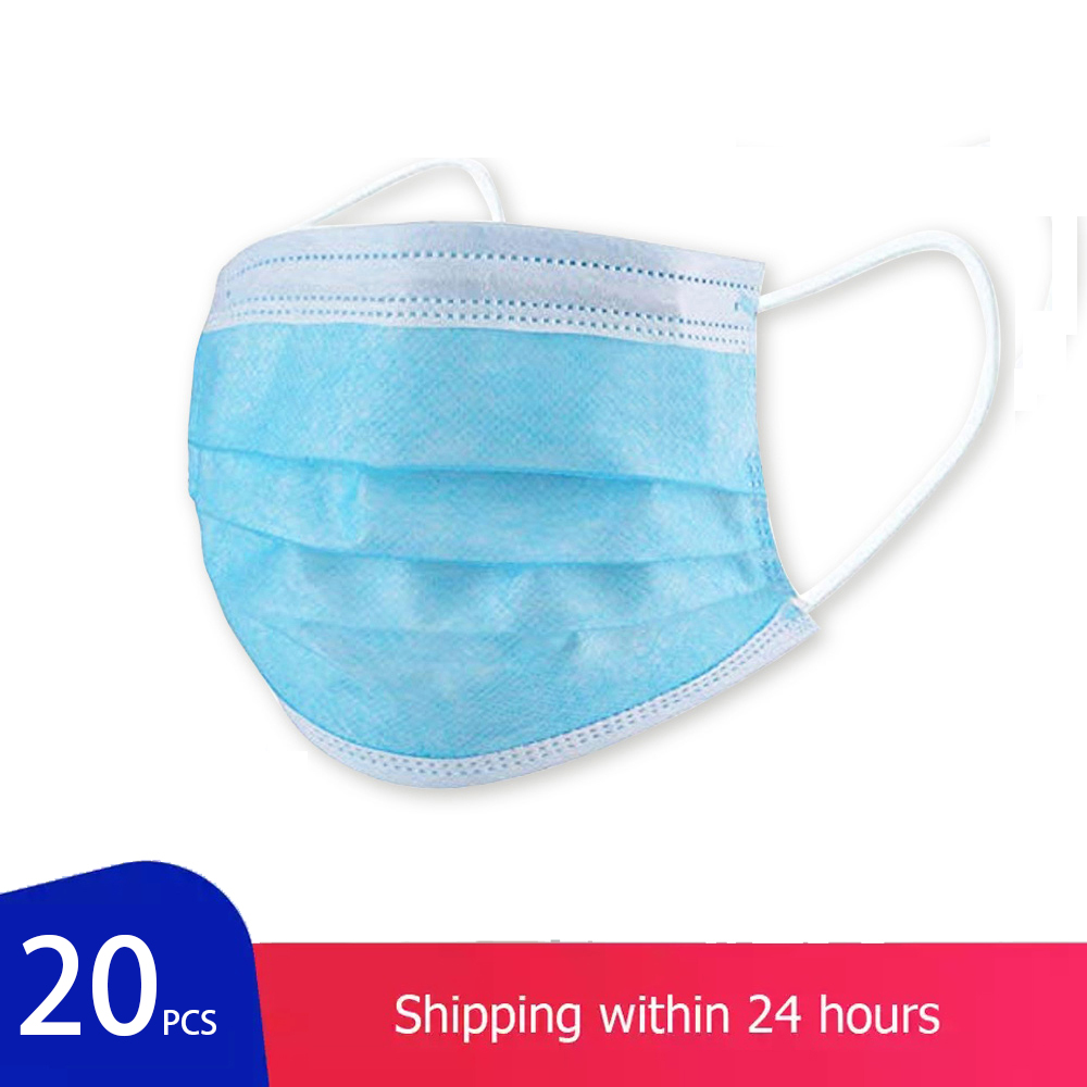 20 Pcs/Bag Thick 3-Layer Dustproof Mask Disposable Mask Anti NCoV PM2.5 Masks Facial Safety Masks Antivirus Influenza Bacterial