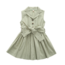 1-6T Little Girls Back to School Summer Dress Button Down Shirt with Belt Kid Dress Solid Ice Green Cotton Linen Knee Length цена