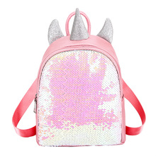 Sequin Drawstring Backpack Bag for Girls, Colorful Unicorn Backpack Female Pu Personality Laser Backpack Student Schoolbag Gift