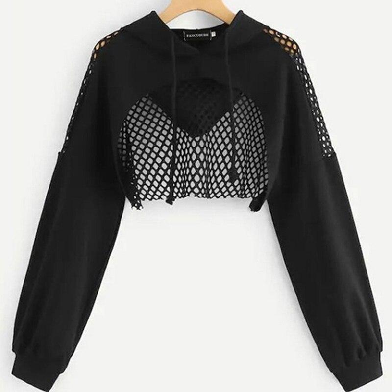Women Harajuku Hoodie Sweatshirt Crop Sweatshirt Mesh Patchwork Hoodies Sweatshirts Clothes Gothic Long Sleeve Cropped Hoodie