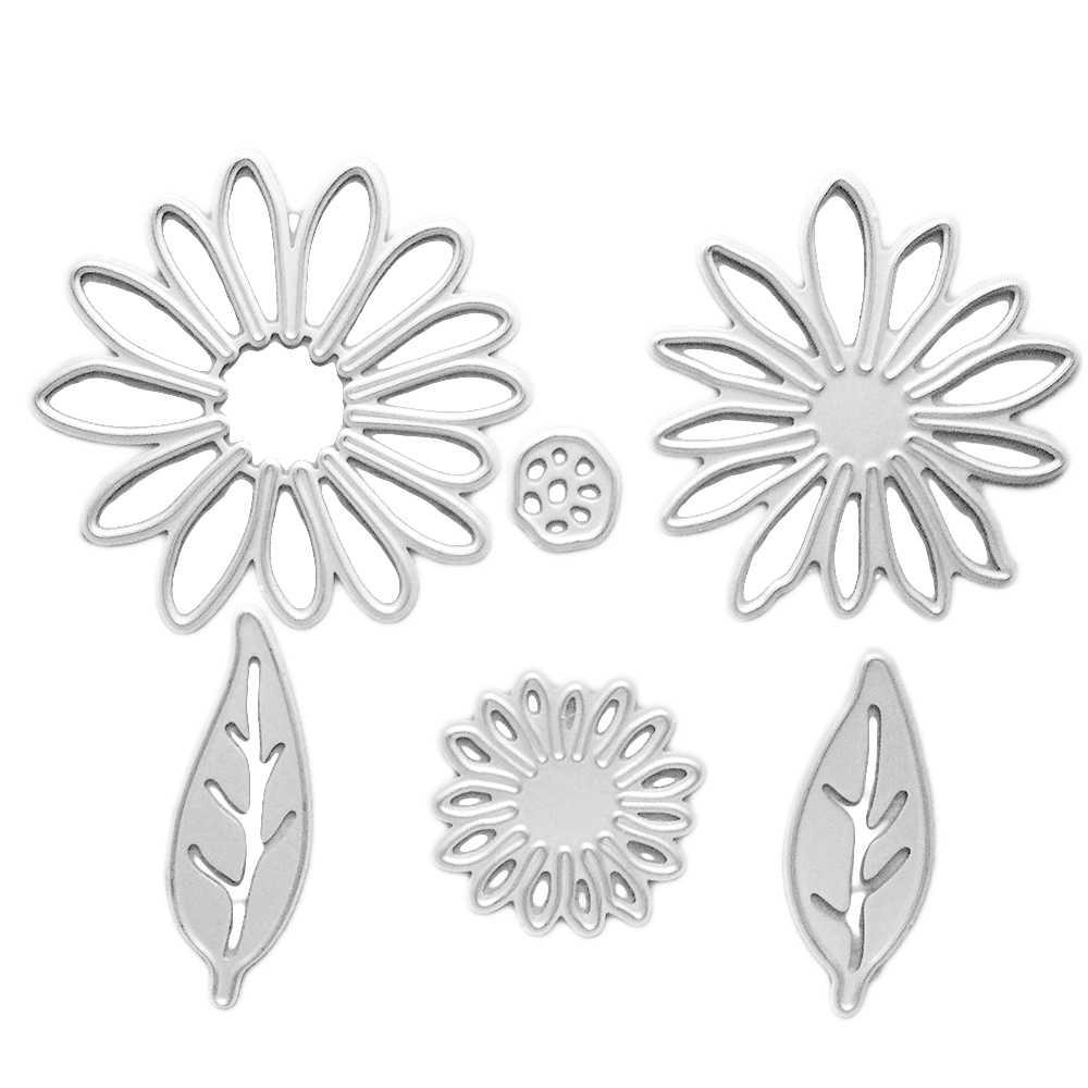 6 ADET Karbon Çelik Metal Çiçek ve Yaprakları Kabartma Kesme Ölür Şablonlar için Kalıp Seti DIY Scrapbooking Albümü Kağıt kart