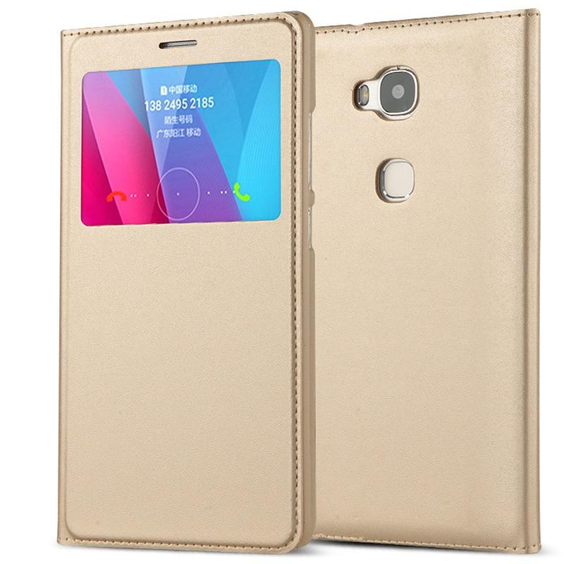 Роскошный кожаный флип-чехол с окошками для Huawei Honor 5X X5 GR5 2016 GR5W, чехол для телефона с подставкой и функцией автоматического сна