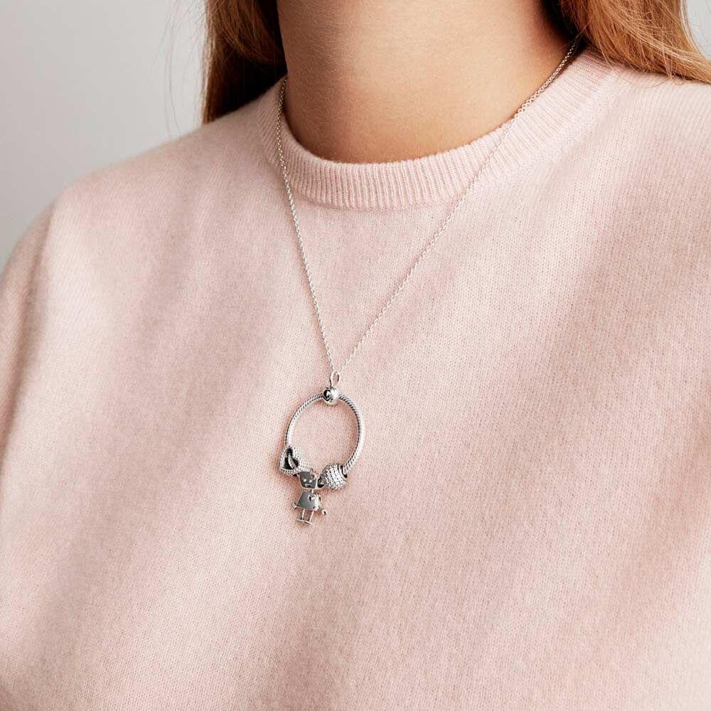 Pendentif rond en argent Sterling s925, breloque adapté au collier Pandora  moments Original, bricolage de bijoux