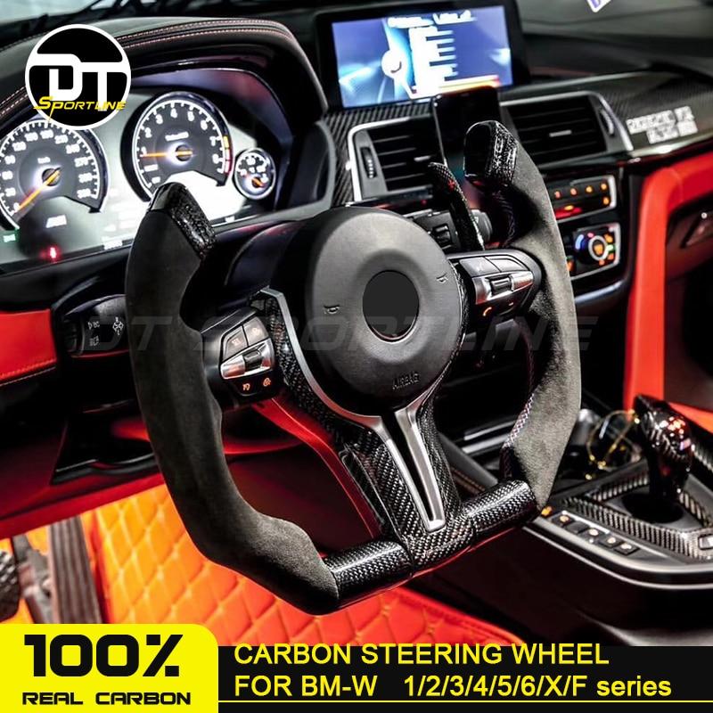Color : Carbon Fiber Decoration Sticker,Trim Frame Chrome//Carbon Fiber Optional for B-M-W F20 F22 F30 F32 F10 F06 F15 F16 2Pcs Steering Wheel Cover
