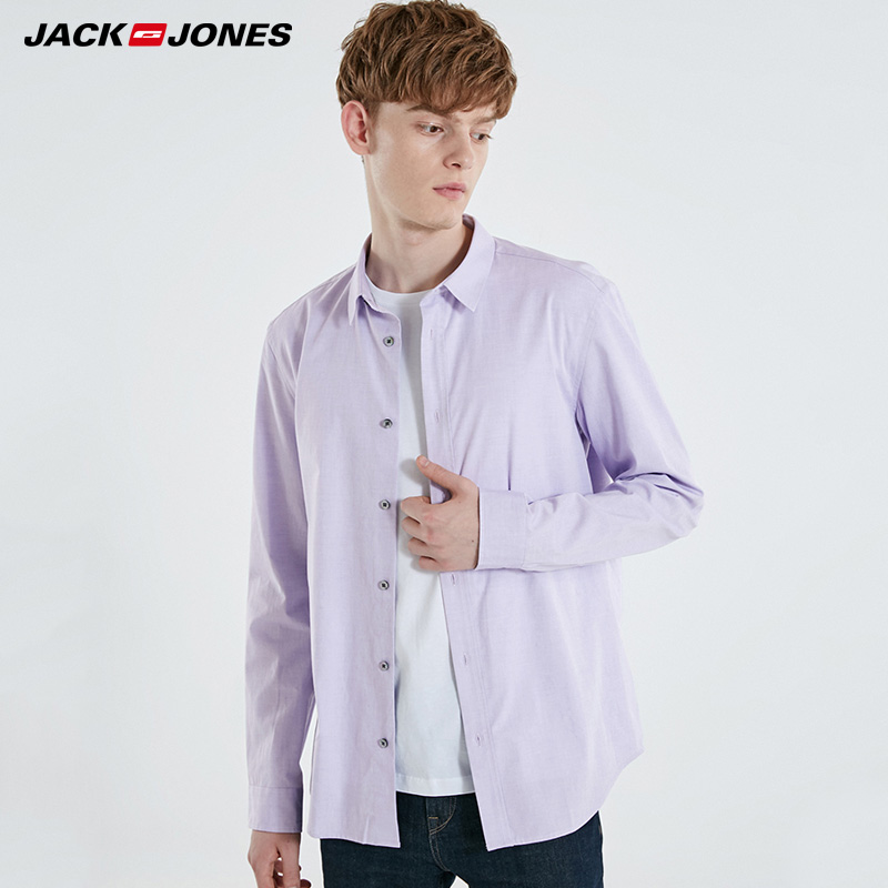 Jack Jones Mens Pure Color Long Sleeve Cotton Shirt |  219105505