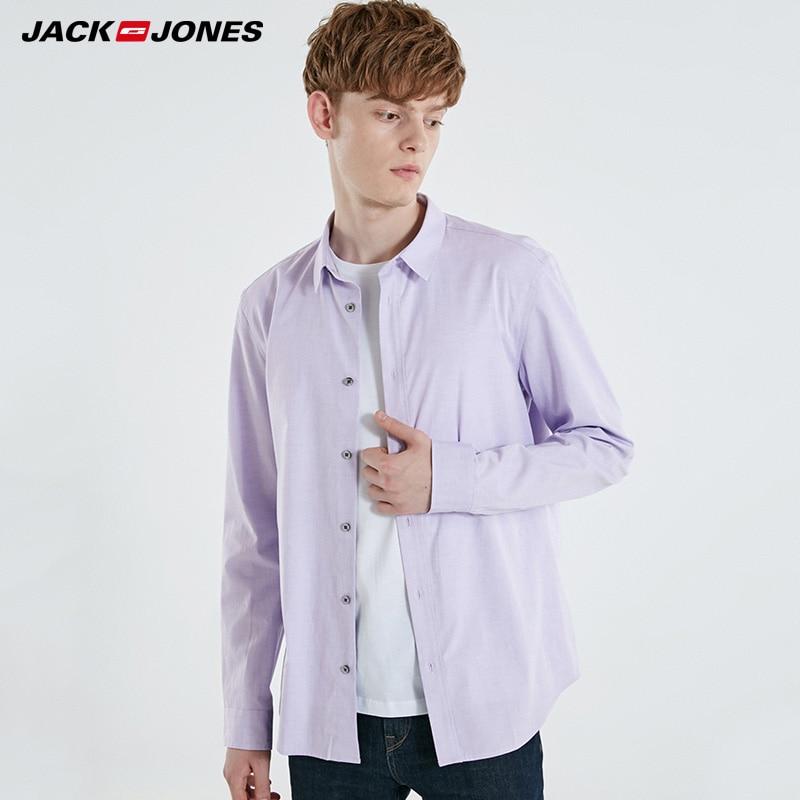 Jack Jones Mens Pure Color Long Sleeve Cotton Shirt |  219105505