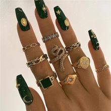 Набор колец в виде змеи для женщин, ювелирные изделия, регулируемые кольца в стиле панк для девушек, модные украшения