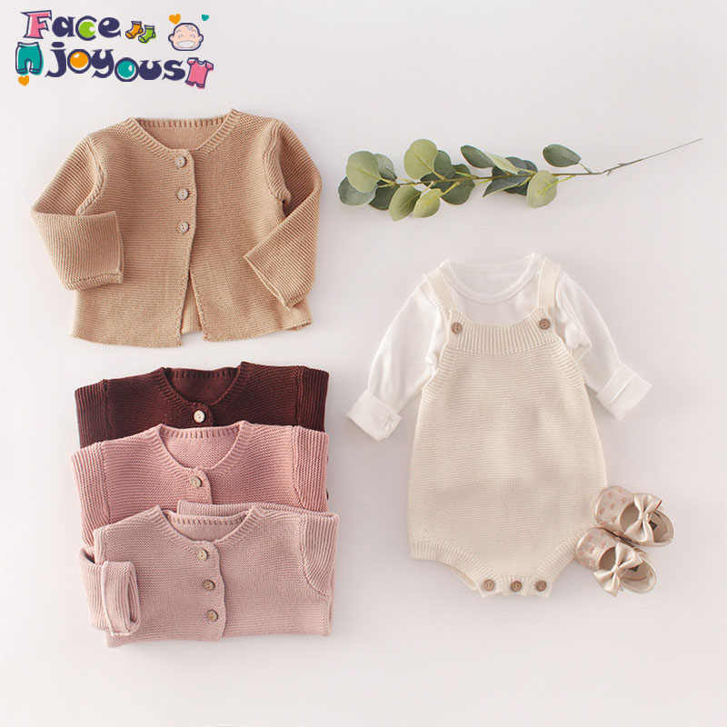 Baby Clothes Set Girls Knitted Coat Jacket Boys Overalls Pants Baby Knit Bodysuit Kids Long Sleeve T Shirt Newborn Clothing Suit