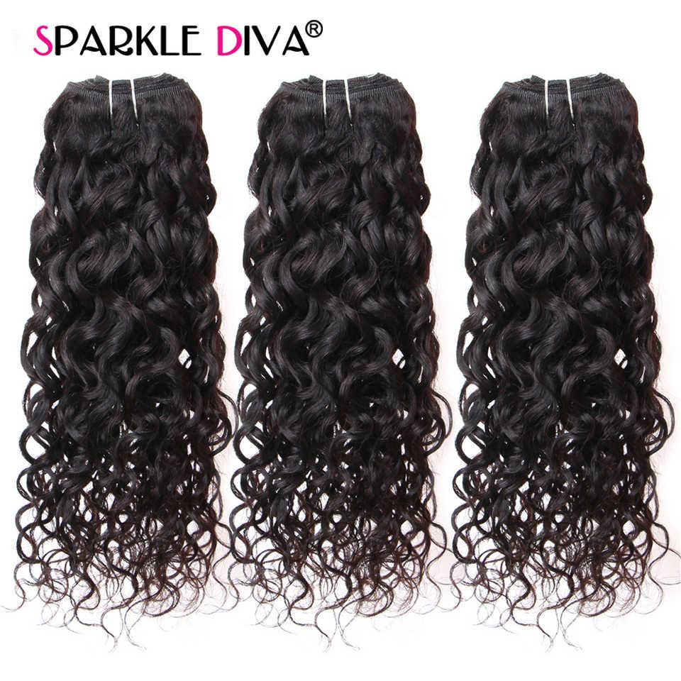3 mechones con onda de agua y cierre Frontal, extensión de cabello humano remy de 8 ''-28 ', mechones de cabello humano postizo brasileño con mechones de encaje Frontal