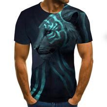 Summer 3d Wolf T shirt Men Streetwear Round Neck Short Sleeve Tees Tops Funny Animal Male Clothes Casual 3D Print Tshirt