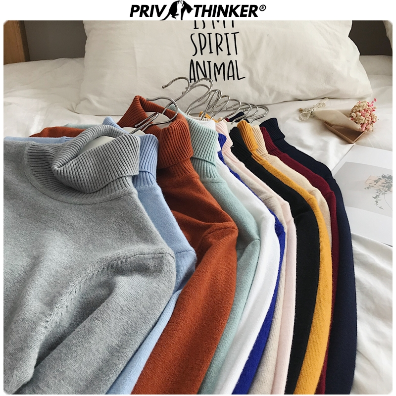 Privathinker Woman's Knitted Turtleneck Pullovers Tops Sweater Female Loose Autumn Winter Clothes Lady Colorful Sweaters Warm