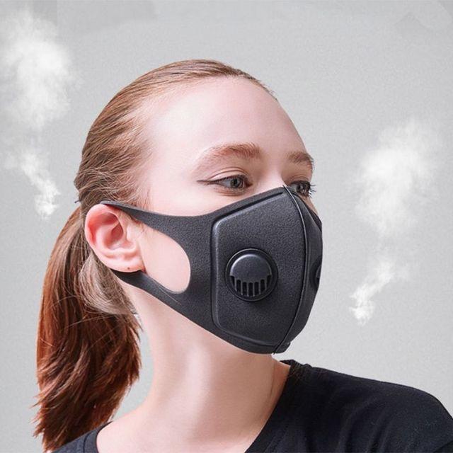 Adult Double Breathing Valve Mouth Mask Dustproof  -Fog Haze PM2.5 Saliva Prevention Polyurethane Sponge Fa  Shield