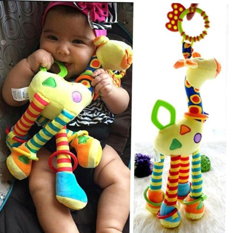 Плюшевые игрушки для младенцев развитие жирафа животных погремушки ручка Игрушки Коляска подвесные детские игрушки грызунки 0-12 месяцев