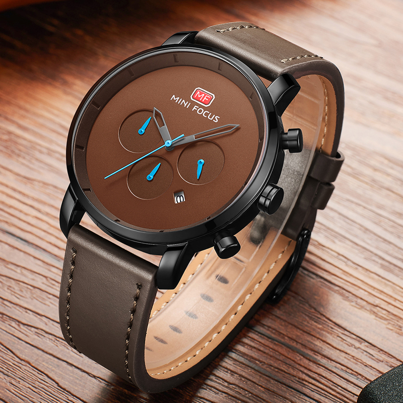 MINI FOCUS Watches Mens 2019 Fashion Quartz Sport Watches For Men Multi function Slim Men 39 s Watch Leather Watch Men Wristwatch in Quartz Watches from Watches