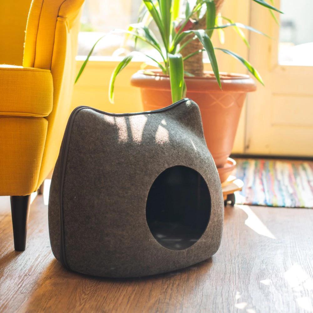 Лежанка для кошек, спальный мешок на молнии, из фетра, в форме кошки, корзина для кошек, товары для домашних животных