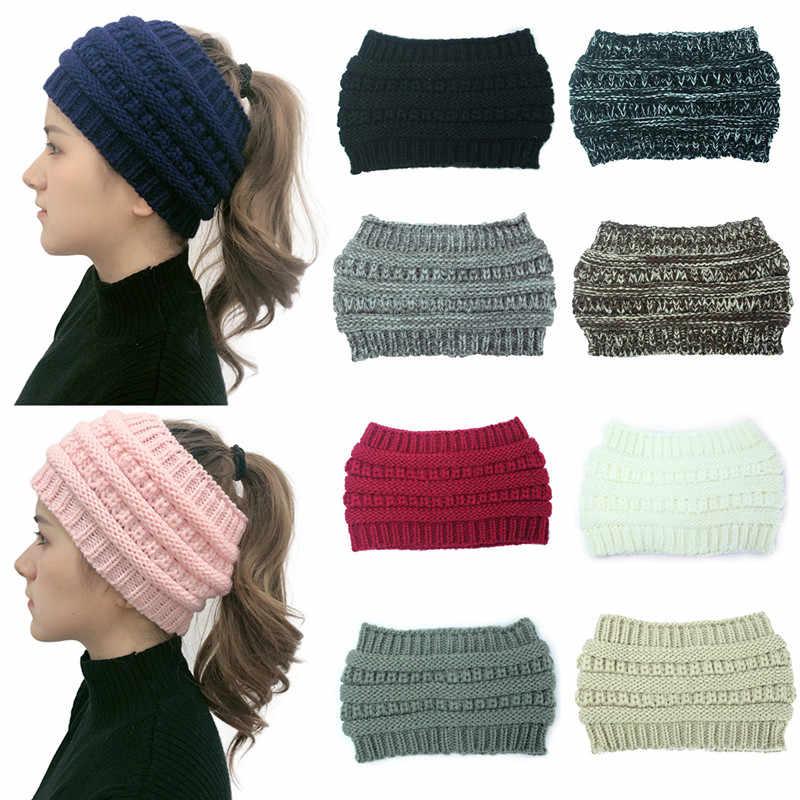 2019 Fashion Snowboard Hangat Rajutan Topi Snap Skullies Topi Beanie Tidak Ada Top Wol Topi Wanita Merajut Headband Rambut Band