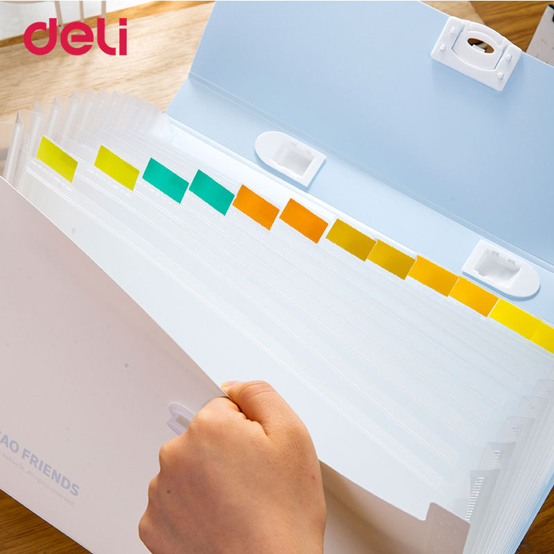 Deli KAKAO FRIENDS Student Organ Bag Multilayer A4 Folder Cute Cartoon Test Paper Folder Storage Information Book Insert