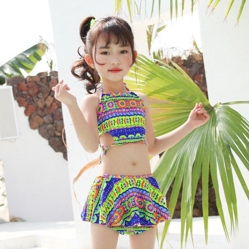Children 2019 Bathing Suit GIRL'S Swimsuit Cute Large Children South Korea Students Split Skirt-Tour Bathing Suit