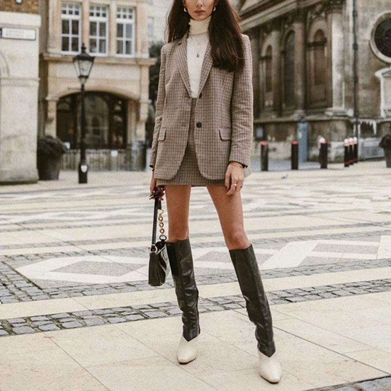 Za 2019 Plaid Blazer Feminino Casual Single Breast Women Blazer Streetwear Jacket Stylish Chic Blazer Mujer