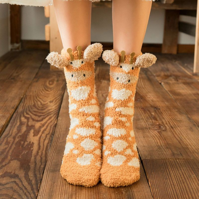 Women Winter Fluffy Fuzzy Slipper Socks 3D Cartoon Animal Coral Velvet Hosiery