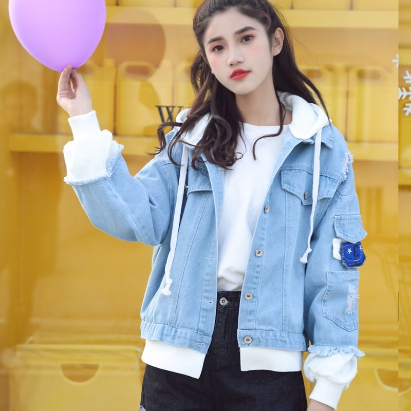 Hb24e15905c004f6daa220645fd9237ceh Spring Autumn Hooded Denim Jacket Women's Ripped Hole Jeans Coat Retro Jean Jacket Street Casual Bomber Jacket Outerwear Hoodies