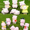 6Pcs/Set Pig Family figurine Animal Model Moss Micro Landscape Home Decor Miniature Fairy garden Decoration Baby Room Decoration 5