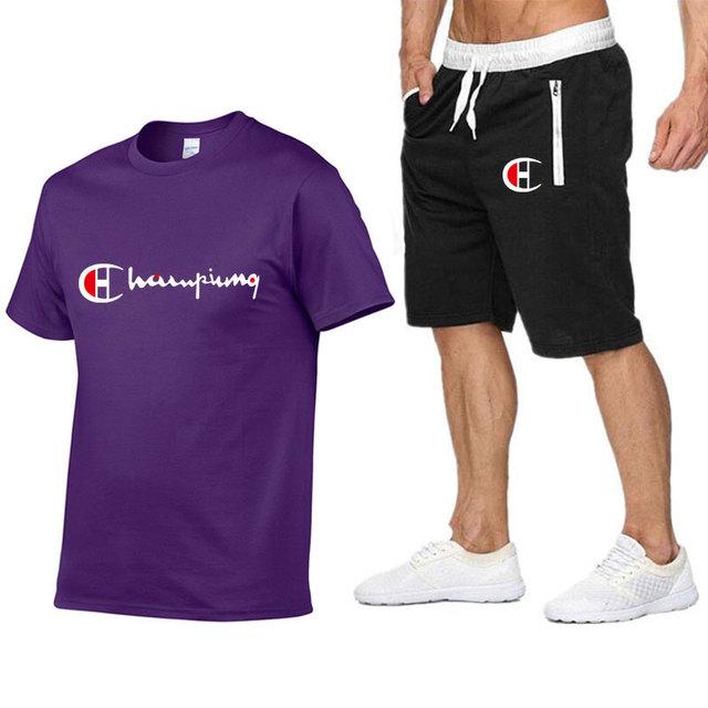 Conjunto de camiseta de algodón para hombre, ropa deportiva Casual de verano
