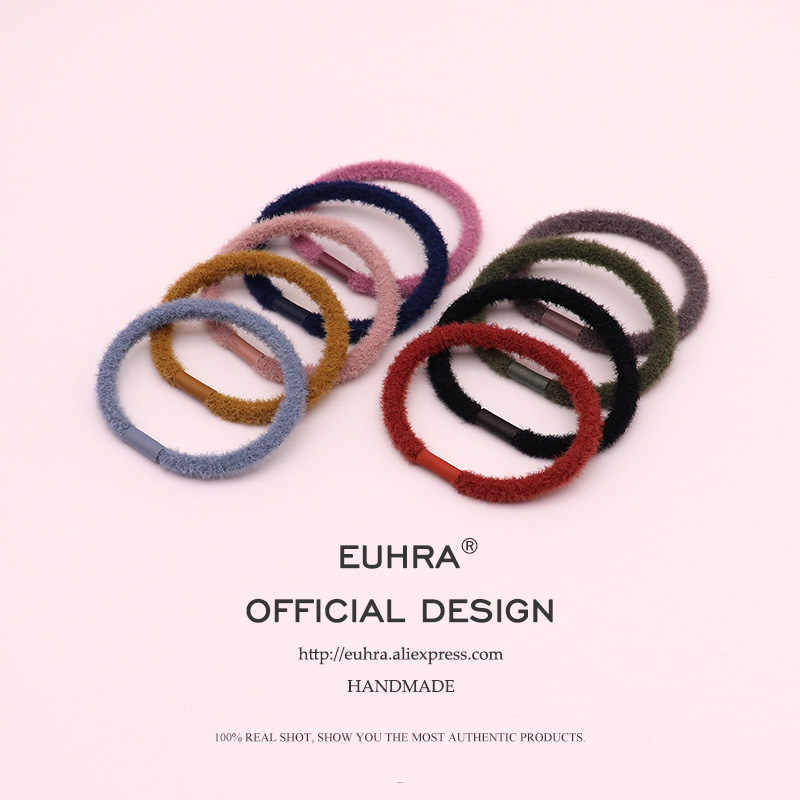 EUHRA 9 Colors Autumn And Winter Plush Elastic Hair Bands Girls Women Kid Children Rubber Bands High Elasticity