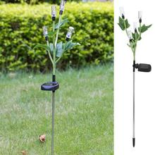LED Solar Powered Lawn Lamp With Light Control 4-Heads Bubble Rod Colorful For Garden Courtyard Lights