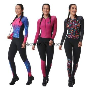 Conjunto de roupa de ciclismo feminino profissional, camiseta e macacão longo para andar de bicicleta, mtb, gel rosa, 2020 almofada almofada 1