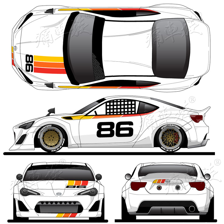 Car Sticker For Toyota GT86 Subaru BRZ Scion Racing Decoration Modified Body Decals