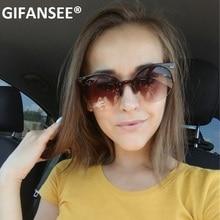 GIFANSEE Cat Eye Sunglasses Women Retro Vintage Half Frame Eyewear Brand Designe