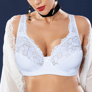 Image 2 - Womens Lager Bosom Lace Bralette Ladies Floral Unpadded Bra Sexy Lingerie See through Underwired Plus Size Brassiere Top